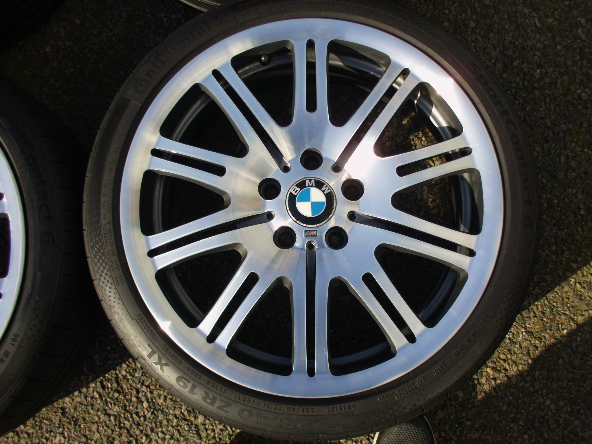 "USED 19"" GENUINE BMW STYLE 67M FORGED E46 M3 ALLOY WHEELS WIDE REAR, GC INC CONTINENTAL TYRES"